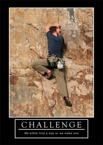 "Barney Stinson motivational poster ""Challenge"""